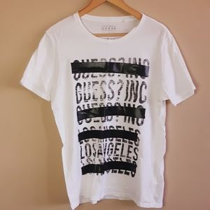Guess | crisp white spell out slashed logo tshirt